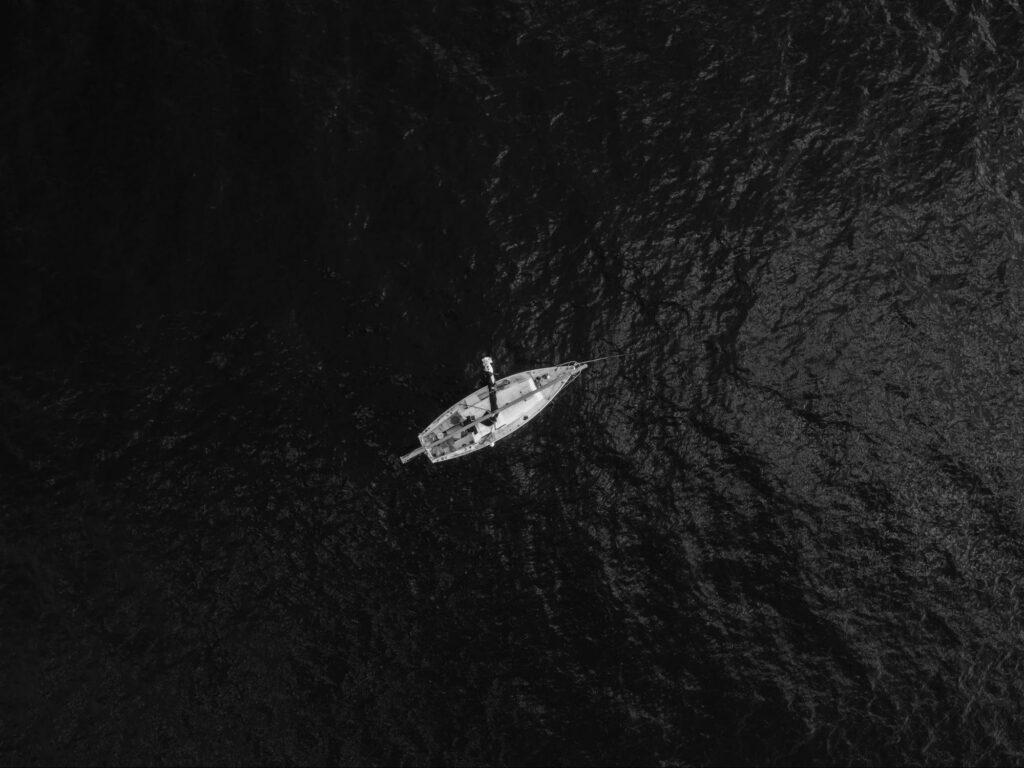 monochrome of a boat on the sea