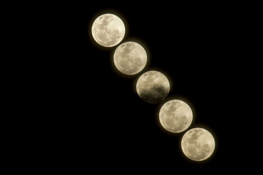 a combination of different shapes of the moon