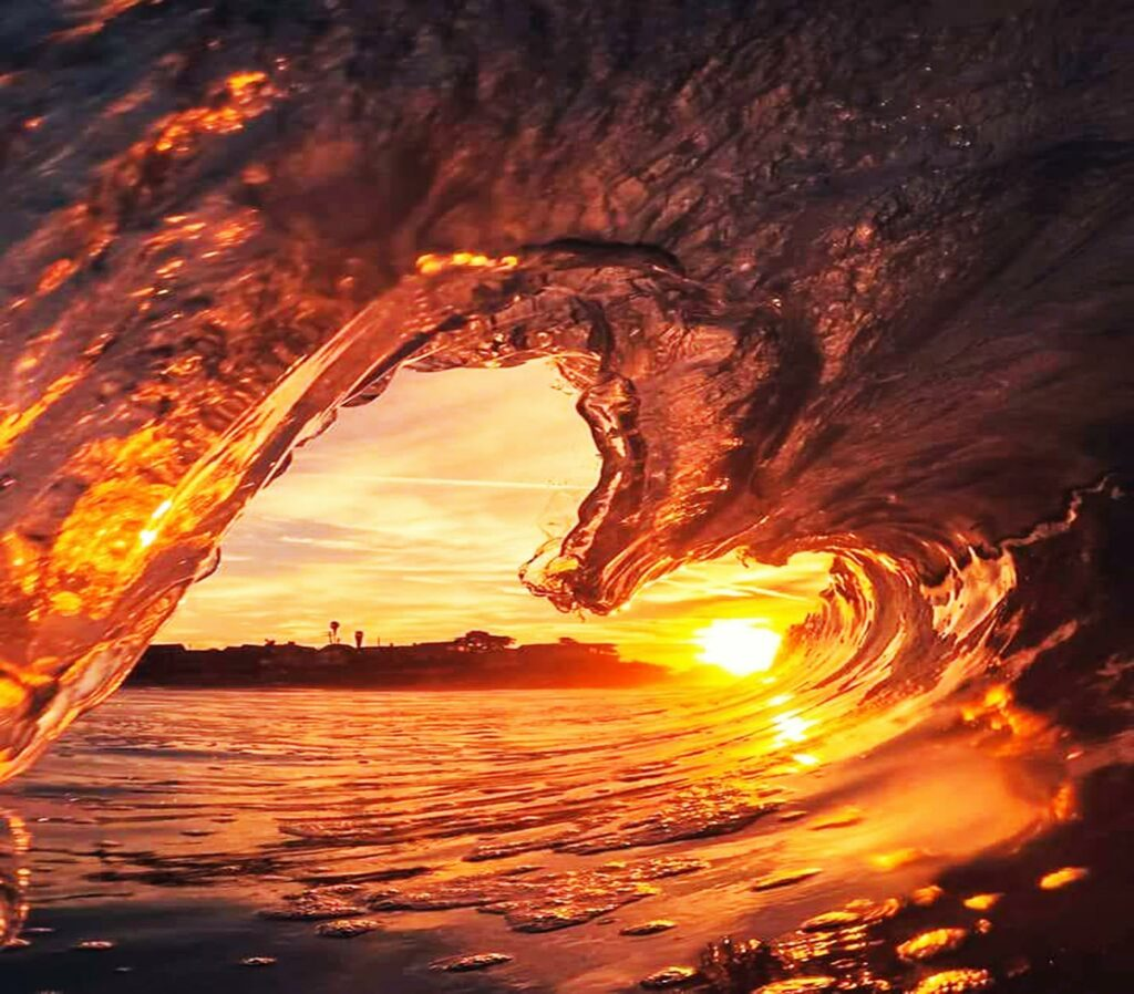 sea wave at the sunset