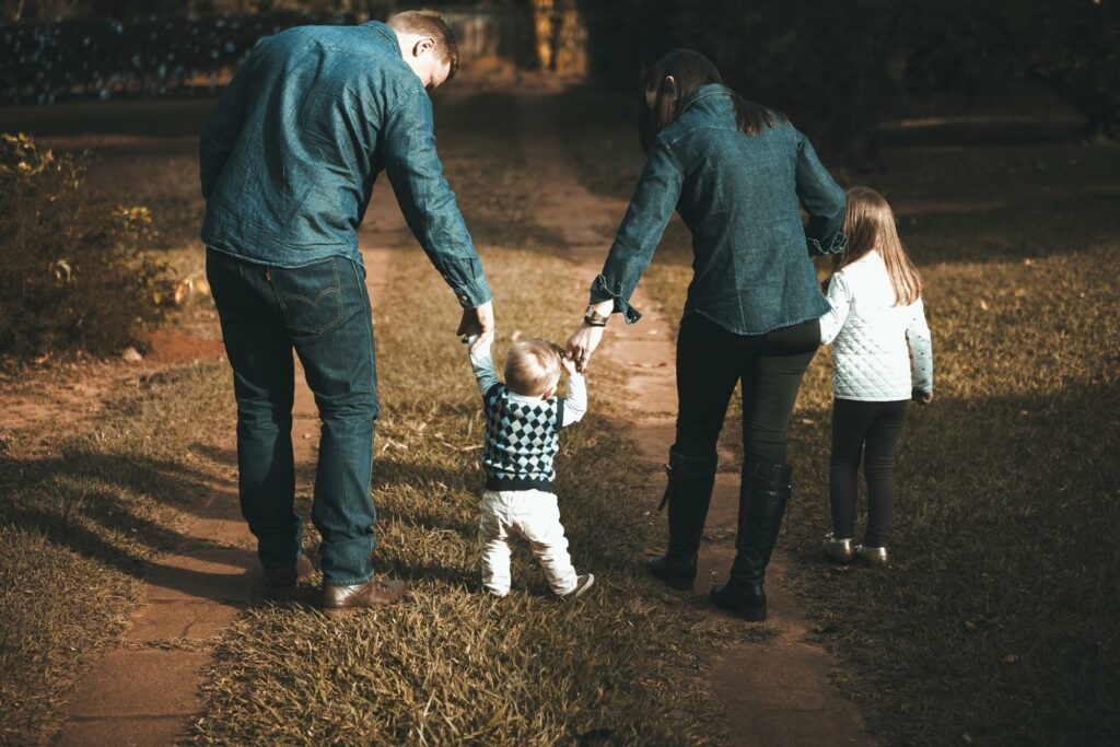 photograph of a family of four