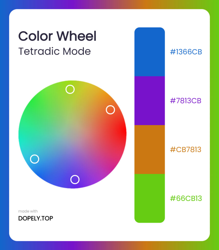 tetradic mode of color wheel