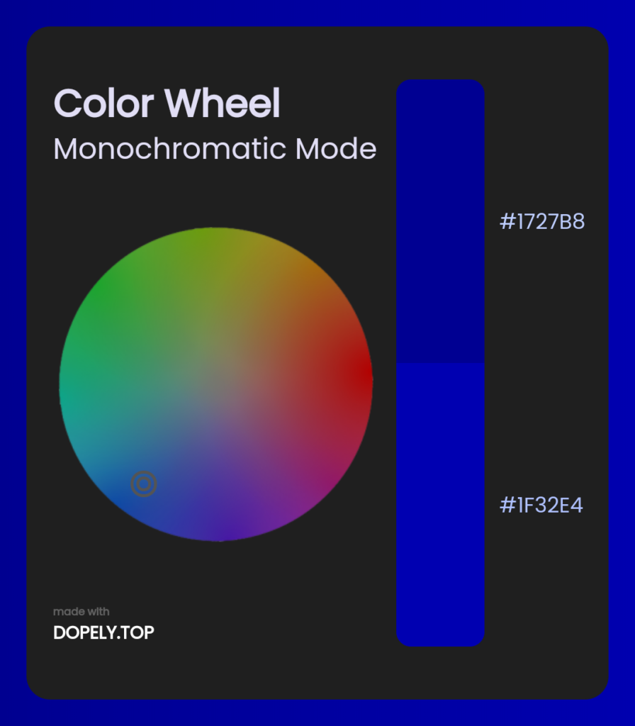 monochromatic mode of color wheel