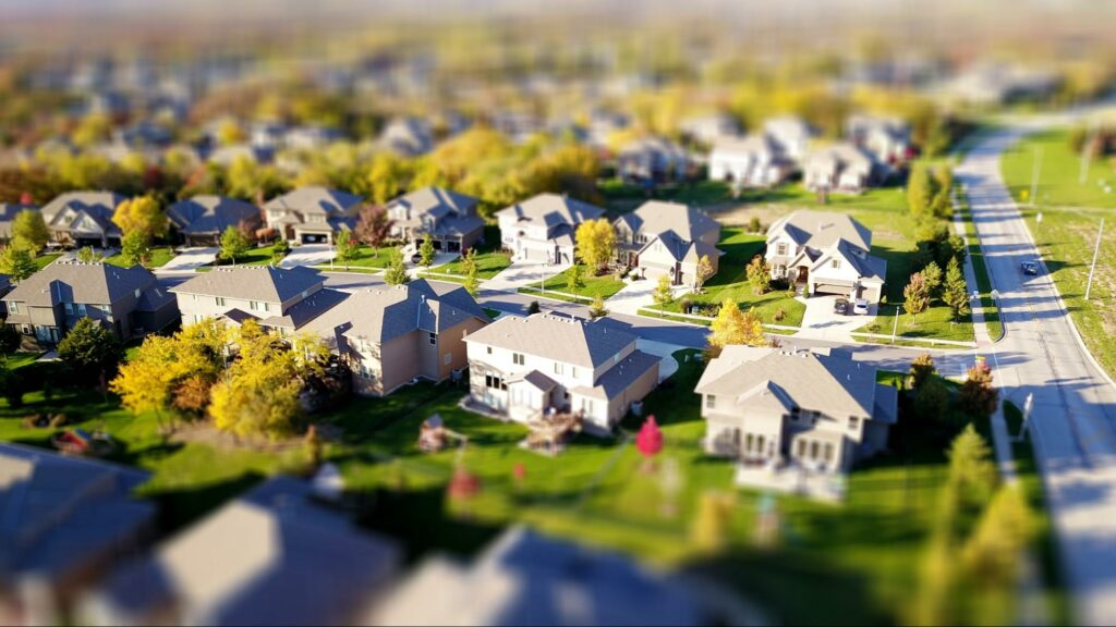 aerial photography types of houses in an area