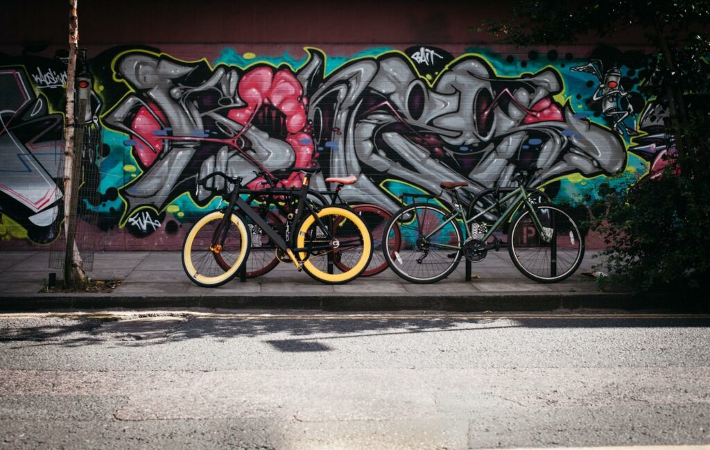 photograph of a three bicycle