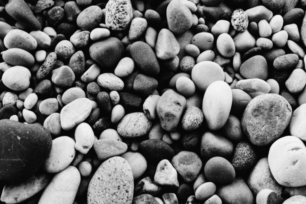 black and white coastal rocks