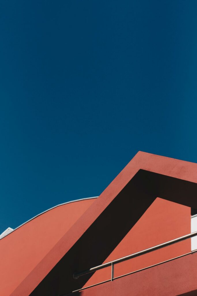 abstract color photography of a red house