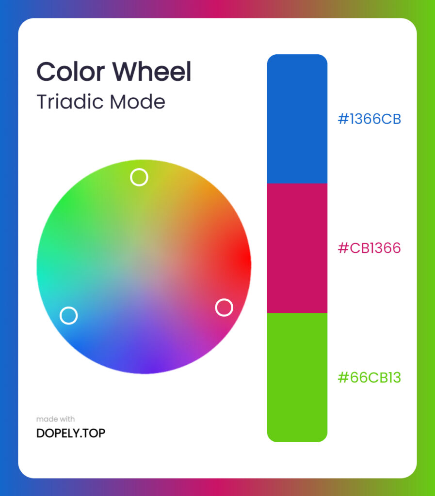 triadic mode of color wheel