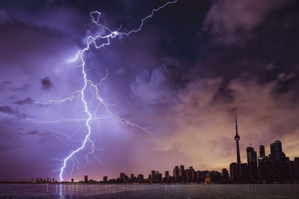 photography of stormy city air