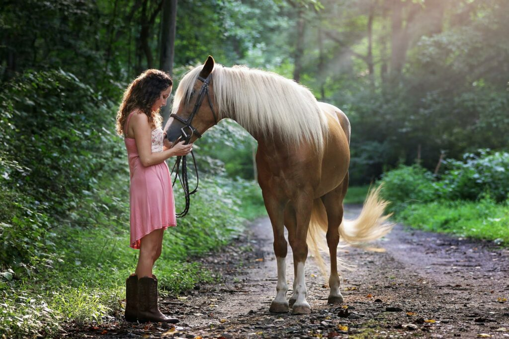 a girl with her horse