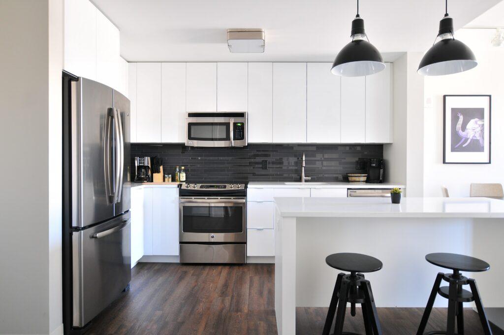 silver color kitchen