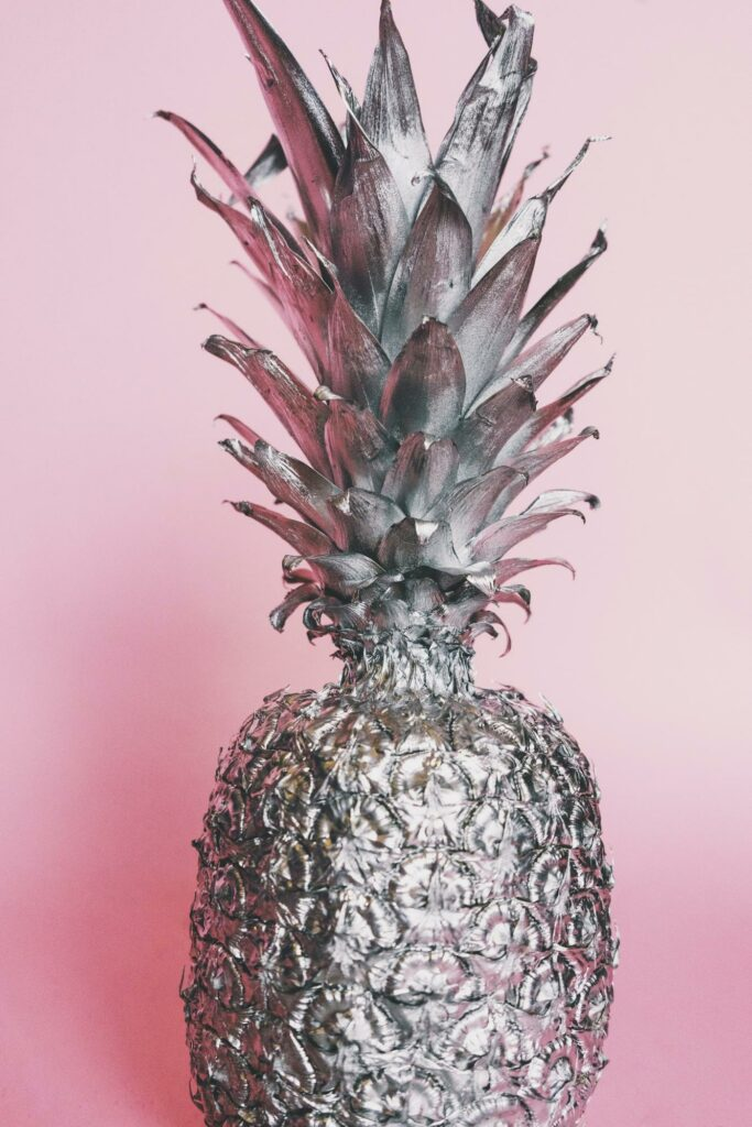 a silver color pineapple
