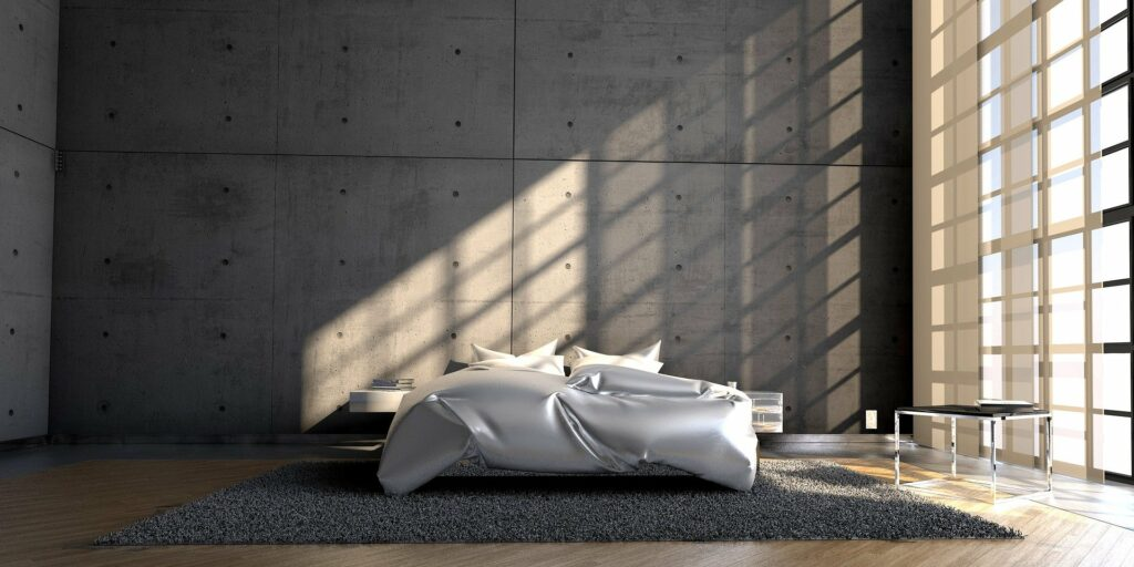 silver color bed