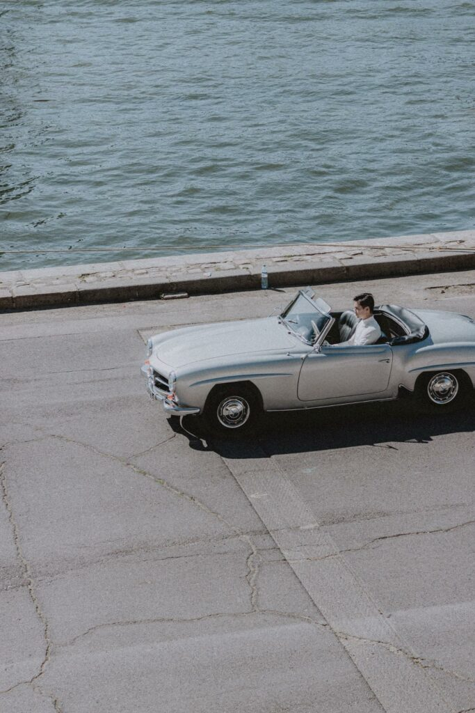 silver color car