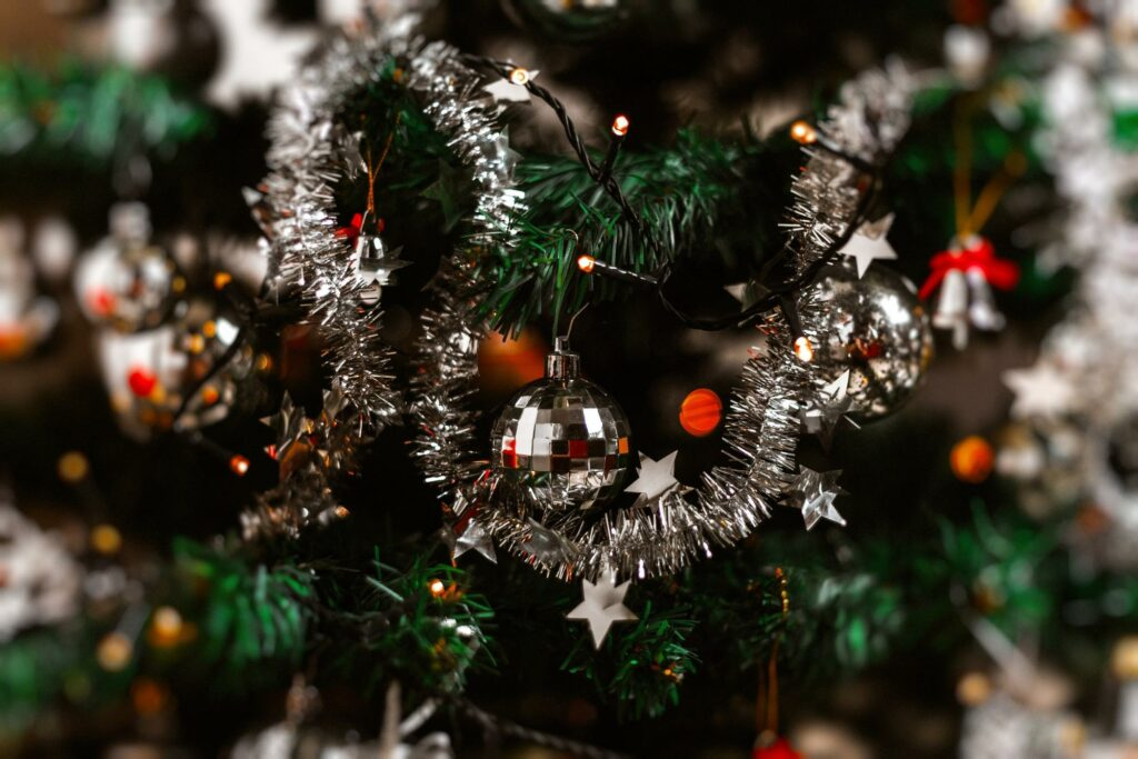 christmas tree and its silver decorations