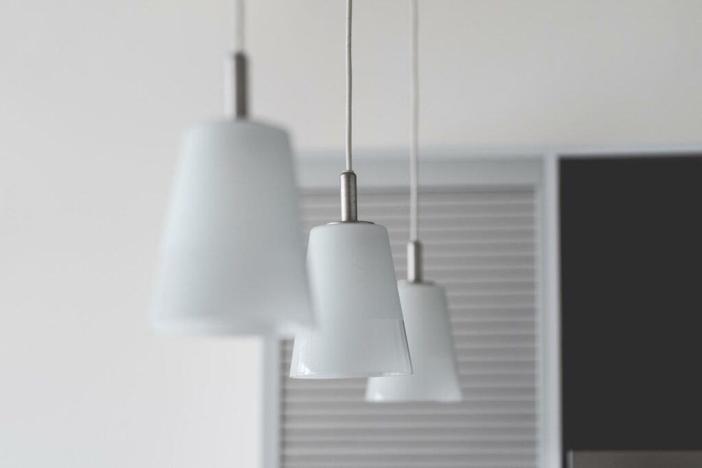 silver color lamp