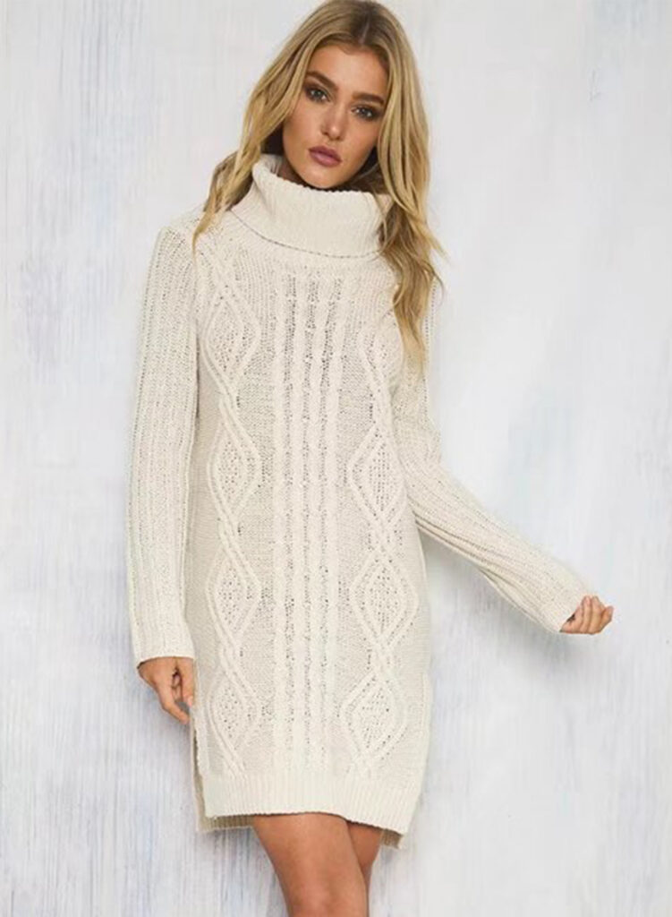 a girl that put on white knitwear