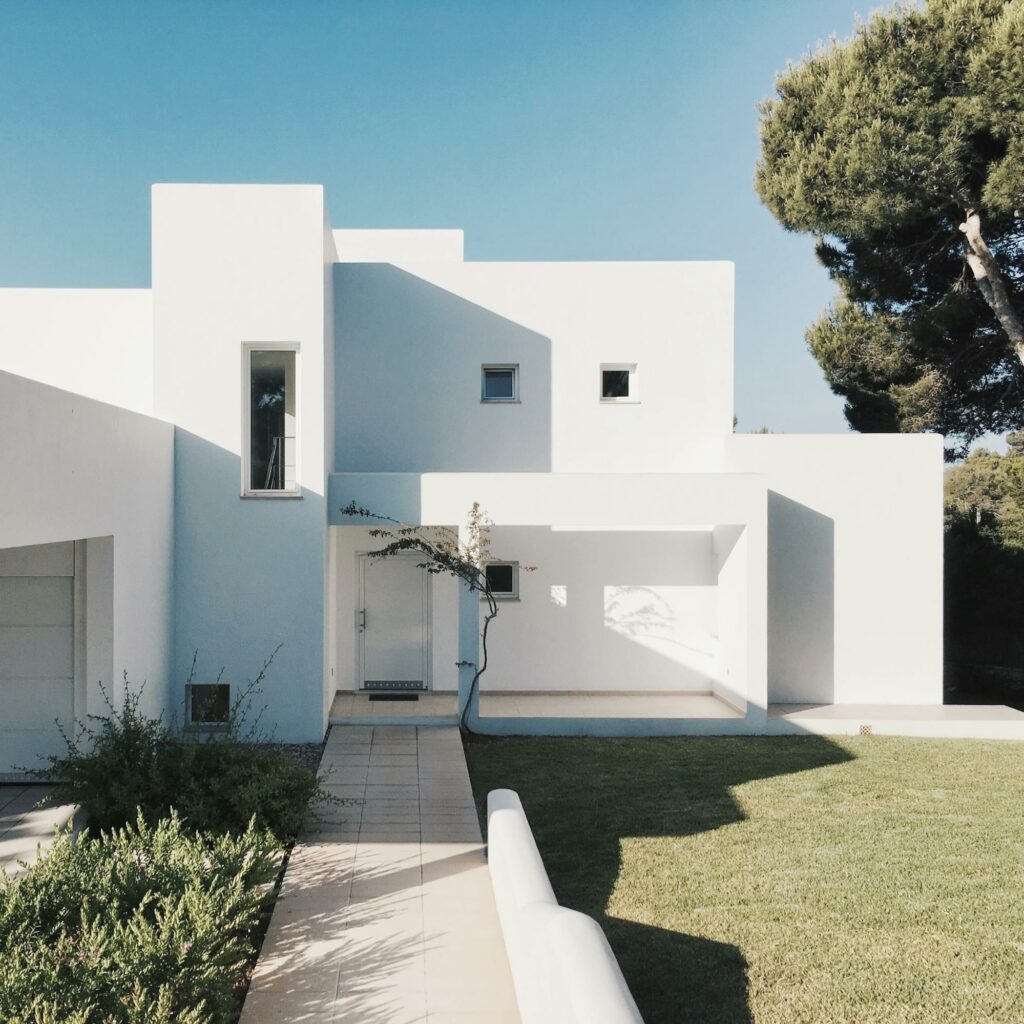 exterior white color house