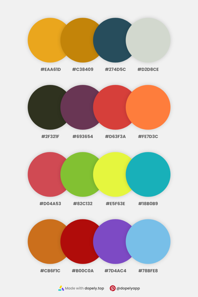 color palette inspiration by dopely