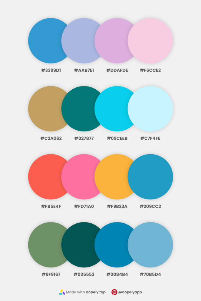 collection of natural colors in 4 color palettes