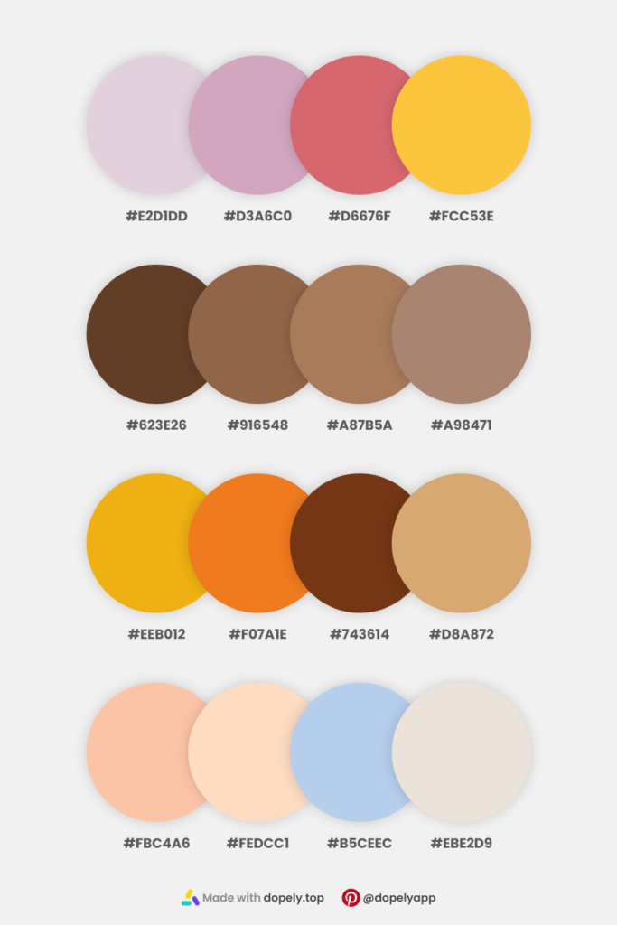 colors from nature in 4 color palettes