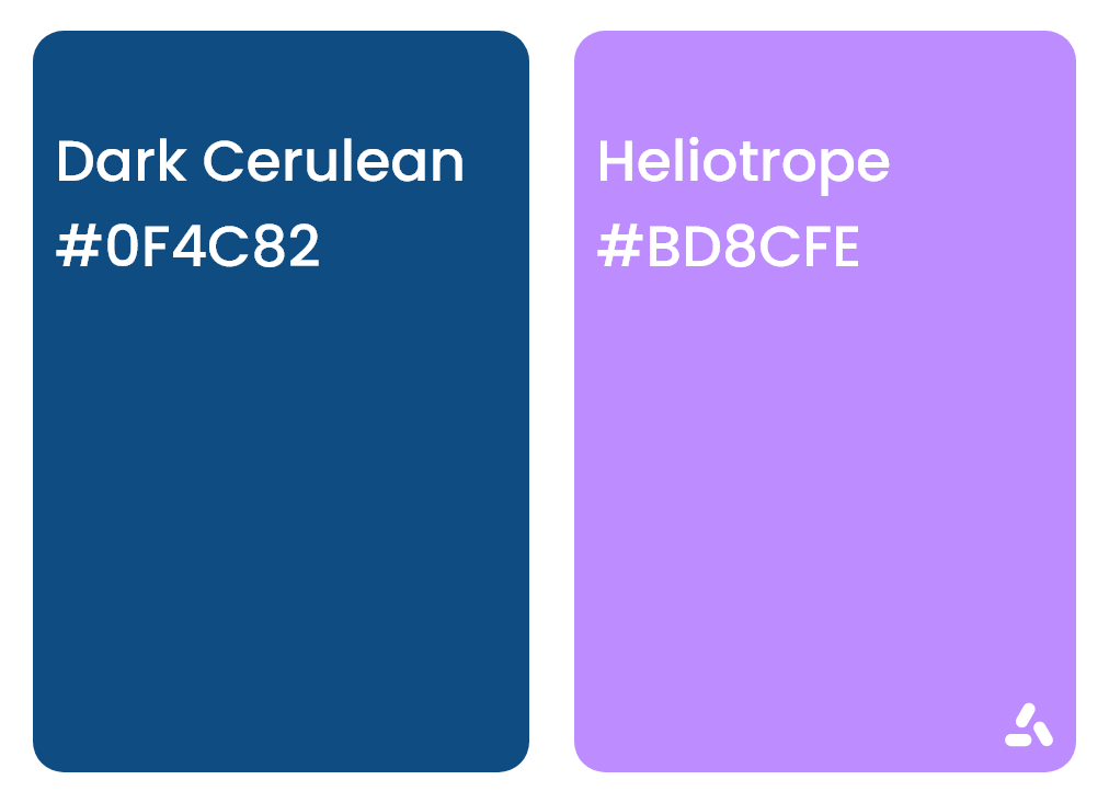 Dark Cerulean blue and Heliotrope light violet with hex codes
