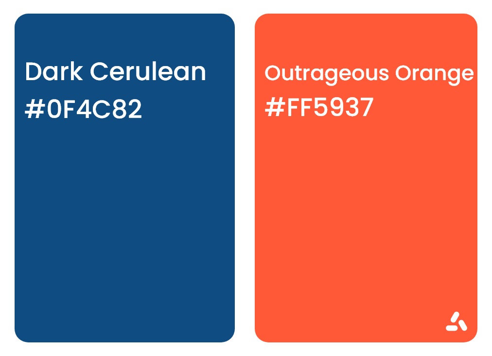 dark cerulean blue and outrageous orange with hex codes