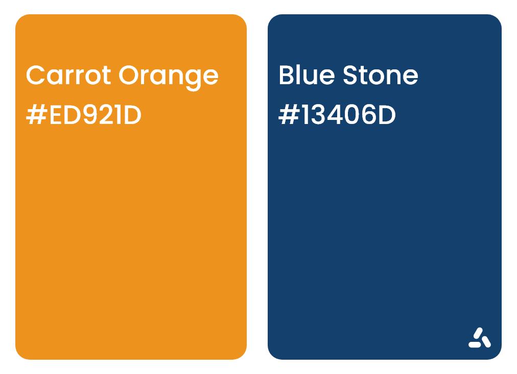 Carrot Orange and Blue Stone color combination idea