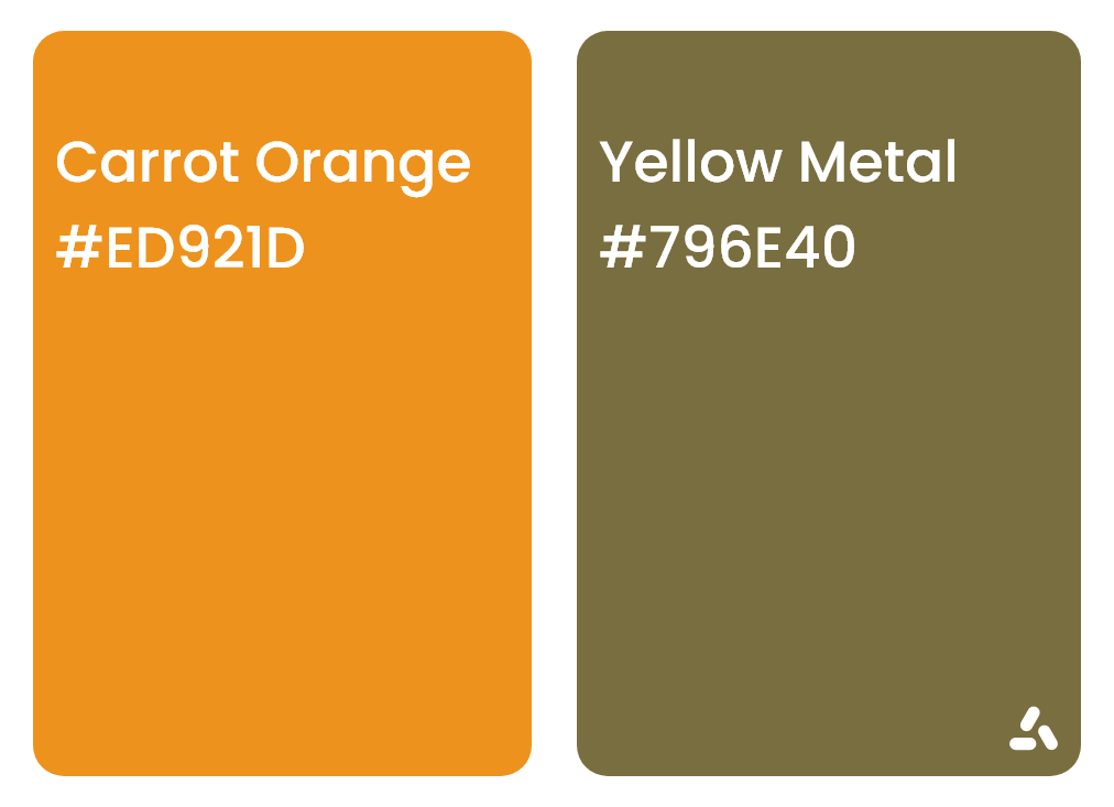 Carrot Orange and Yellow Metal color pair idea