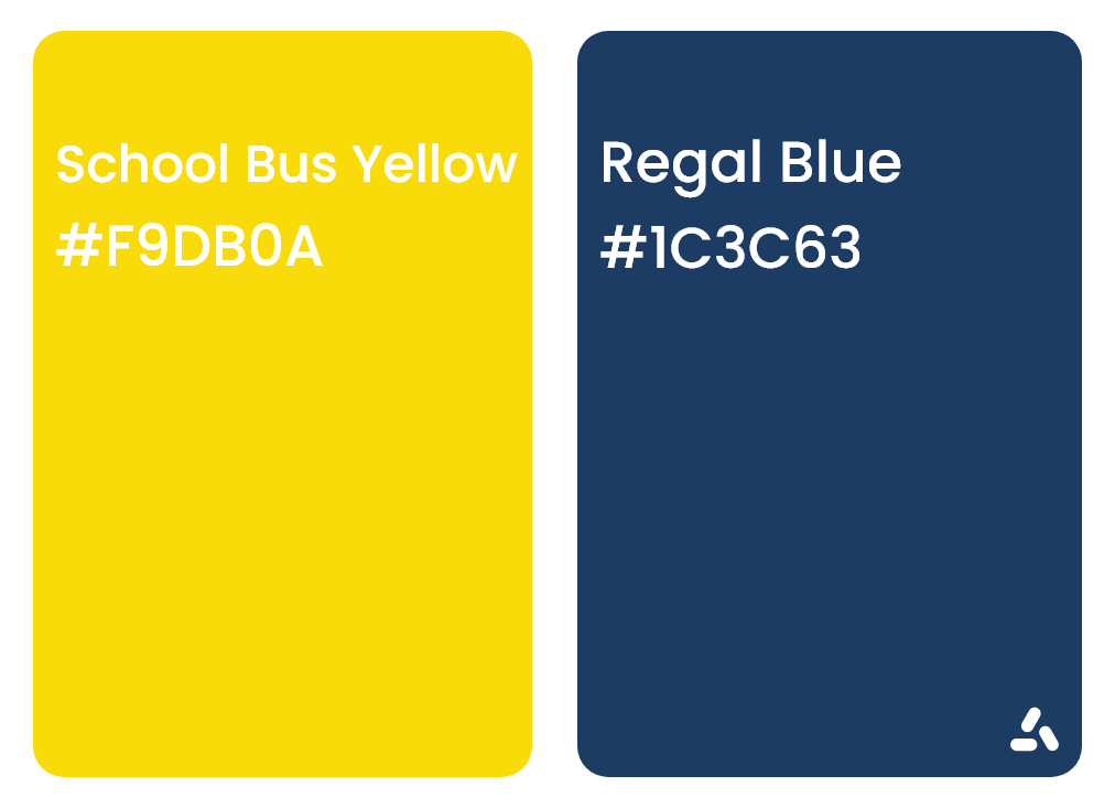 school bus yellow and regal blue color combination