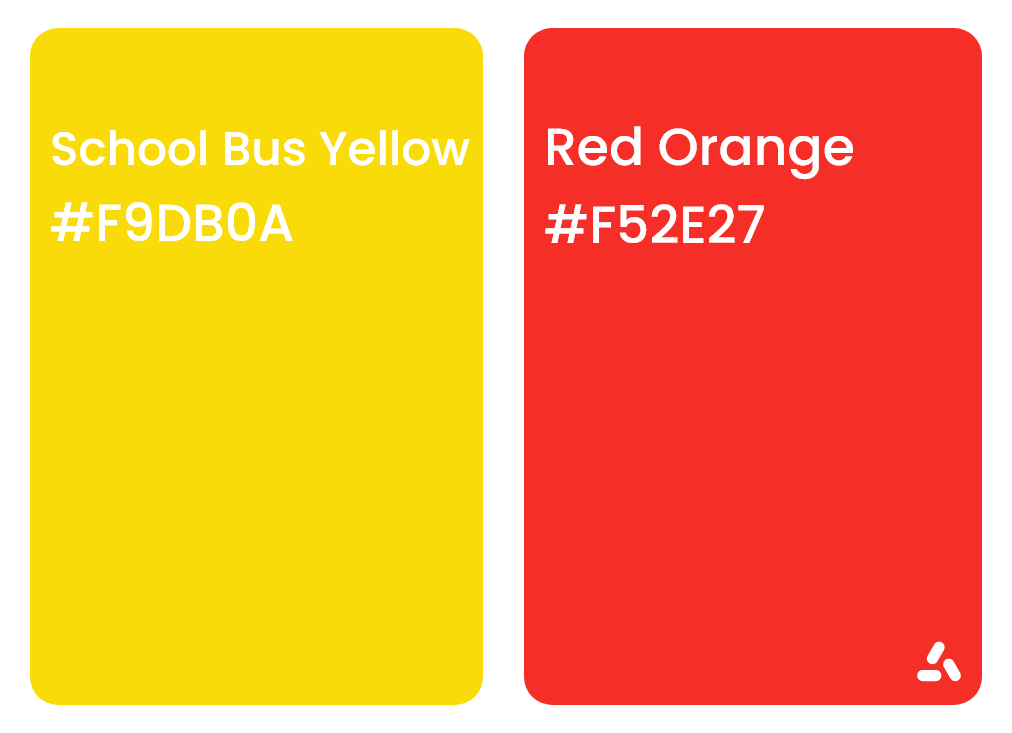 School bus yellow with Red orange sharp and fun color pair