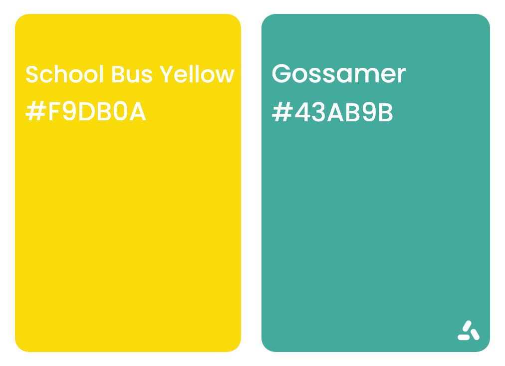 School bus yellow and Gossamer color combination