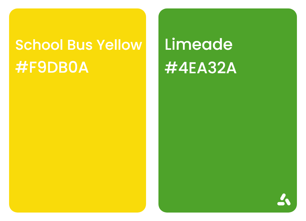 School bus yellow and limeade color combination