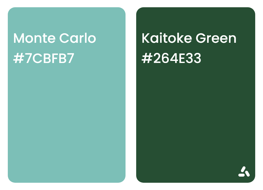 Monte Carlo Turquoise and Kaitoke Green with hex codes