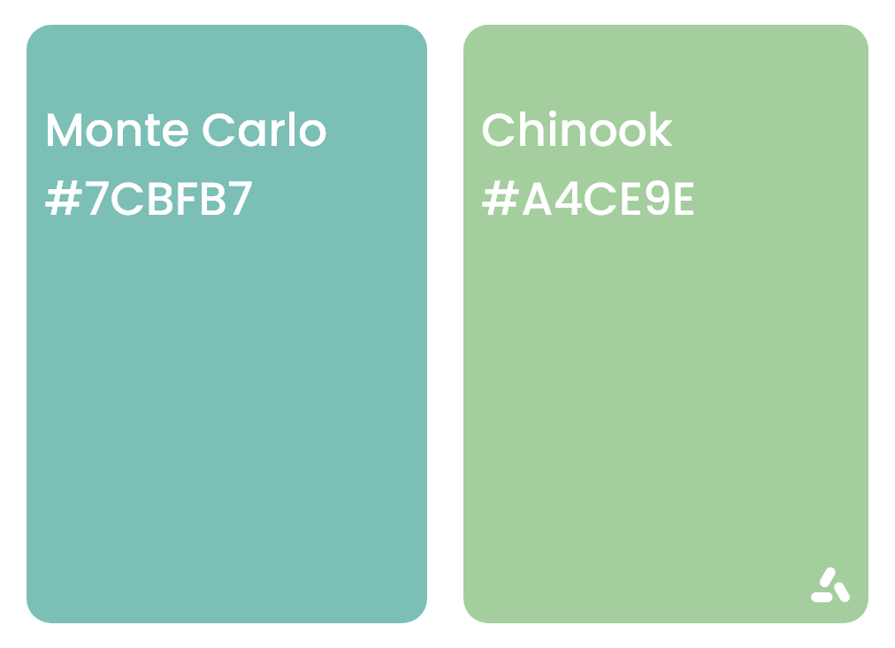 Monte Carlo Turquoise and mint green with hex codes