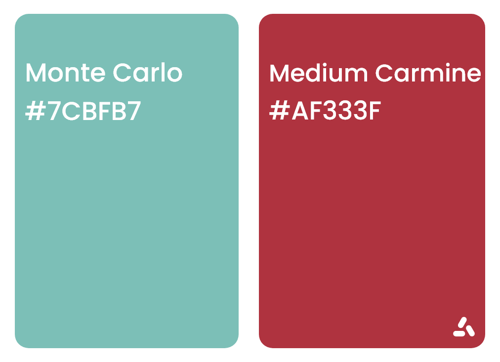 Monte Carlo Turquoise and medium Carmine with hex codes