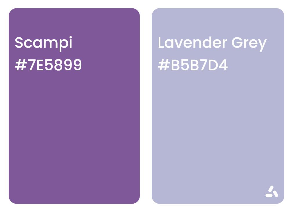 Scampi purple and Lavender Grey color pair idea