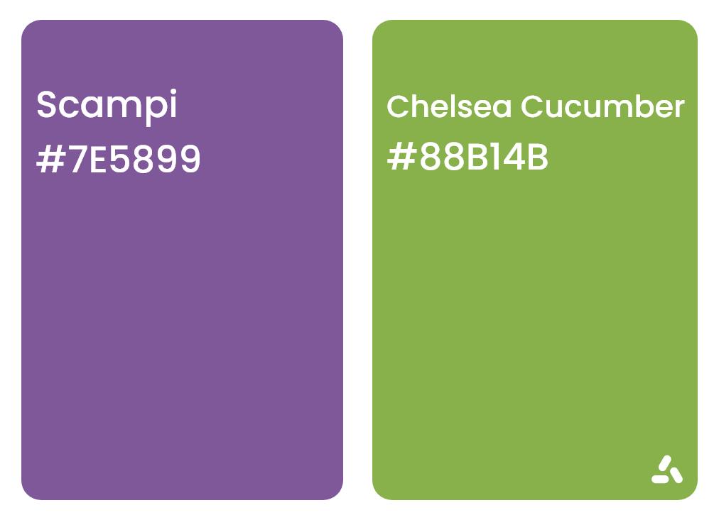 Scampi purple and chelsea cucumber green color combination idea