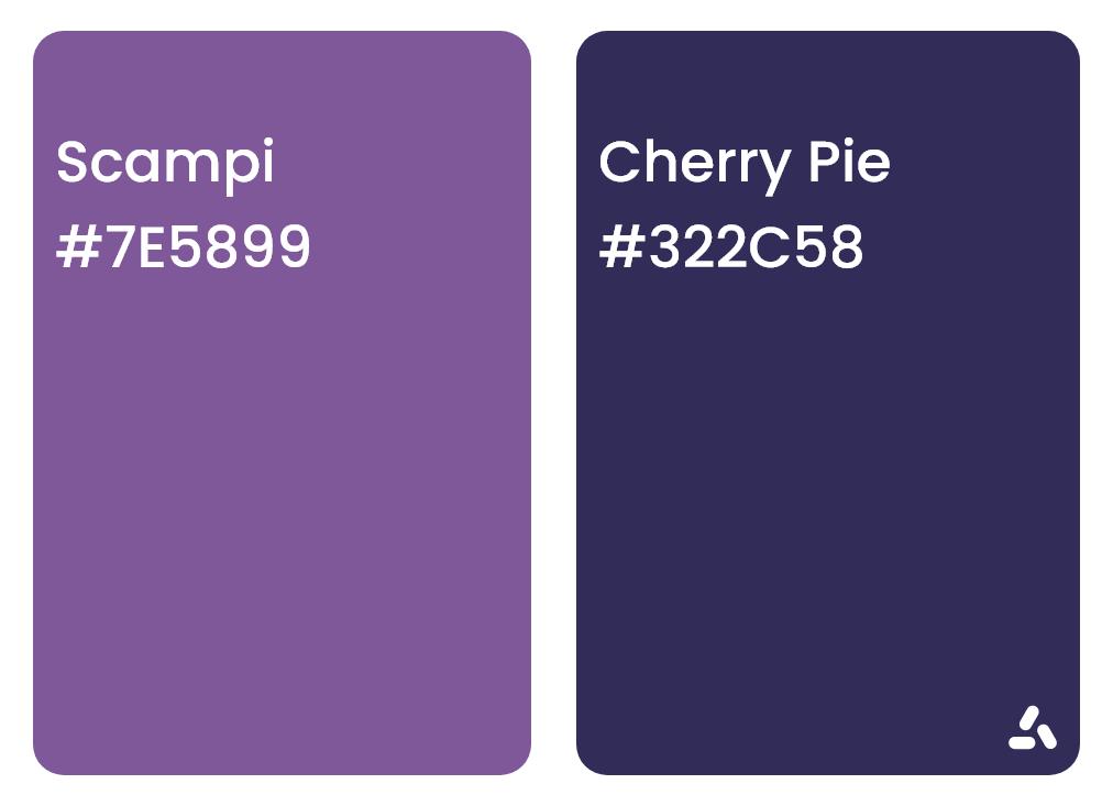 Scampi purple and cherry pie blue color pair idea