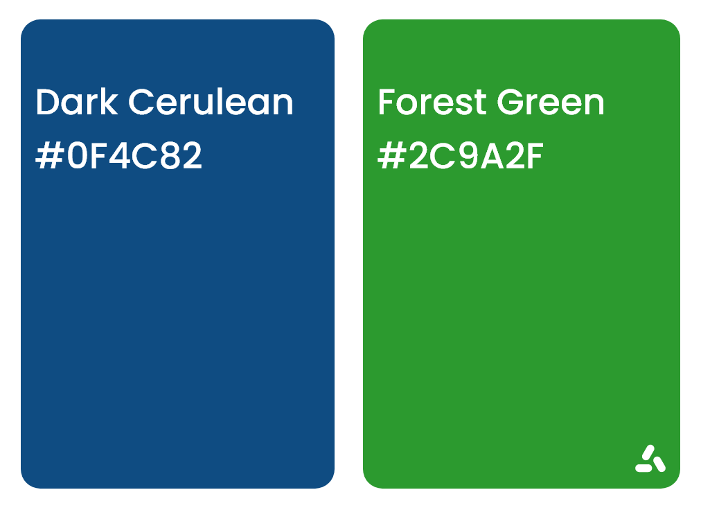 dark cerulean blue and forest green with hex codes