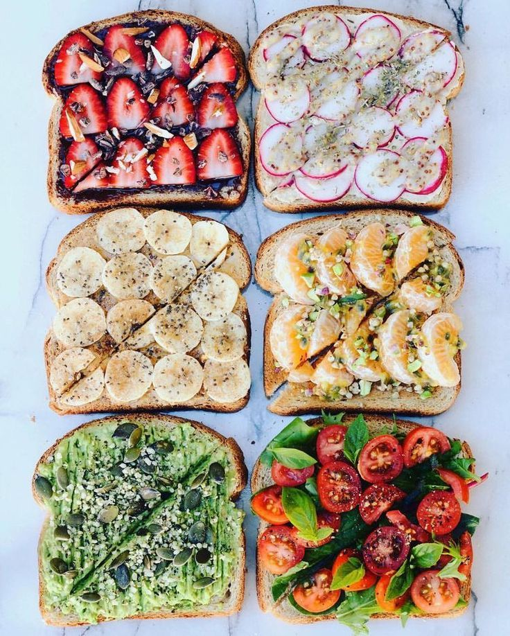 A photo of different types of sandwiches in different colors