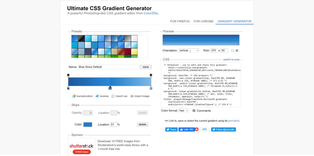 Colorzilla Free Gradient Generator Tool
