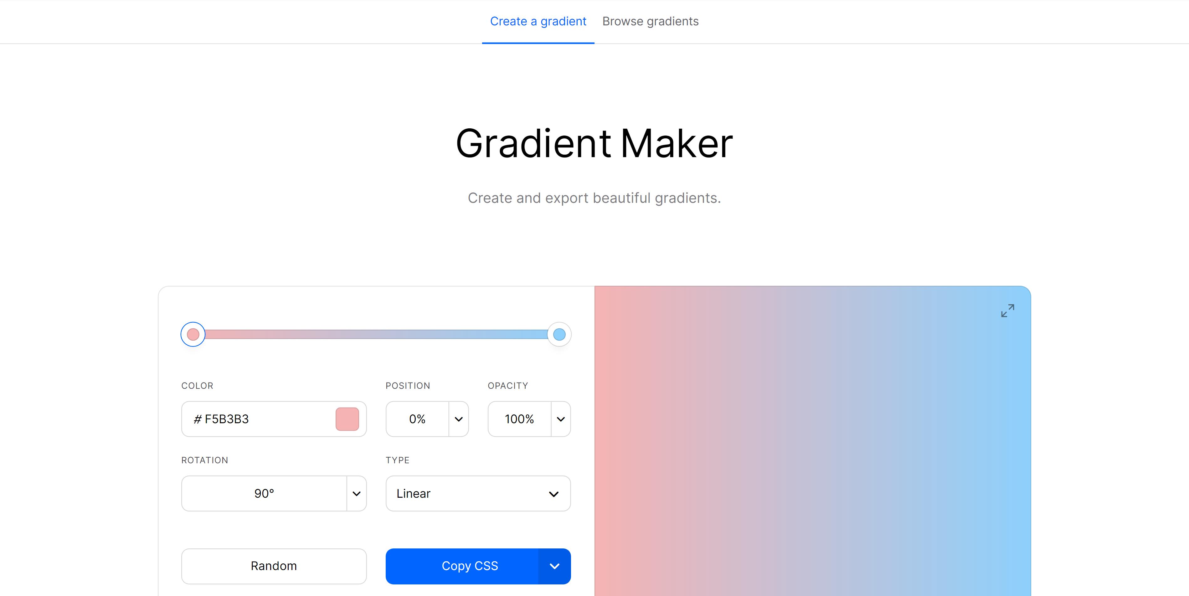 CSS Free Gradient Generator Tool