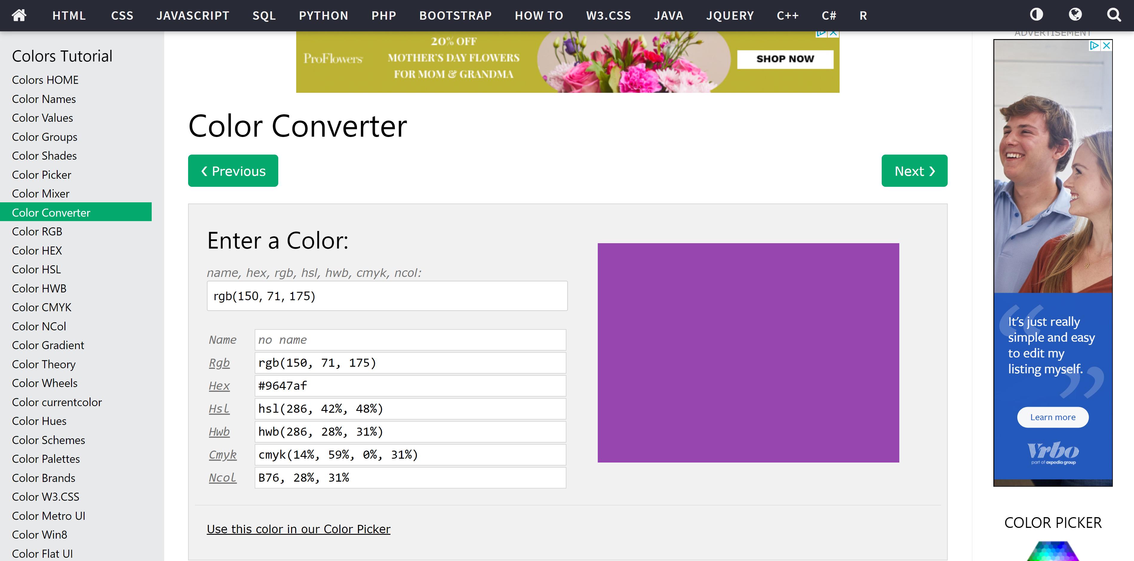 W3School Online Color Converter Tool