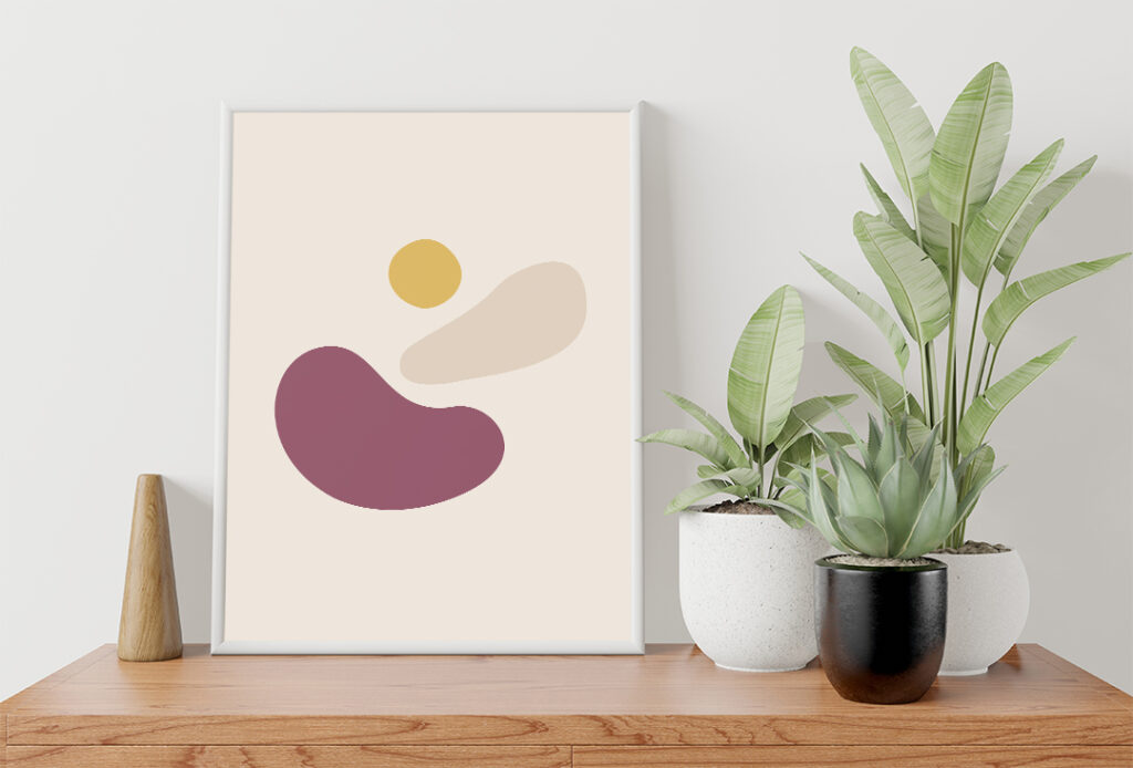 Sun of lake poster abstract boho style poster