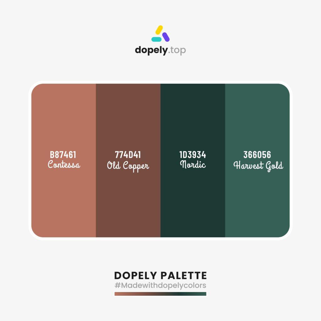 color schemes including Contessa (B87461) + Old Copper (774D41) + Nordic (1D3934) + Spectra (366056)