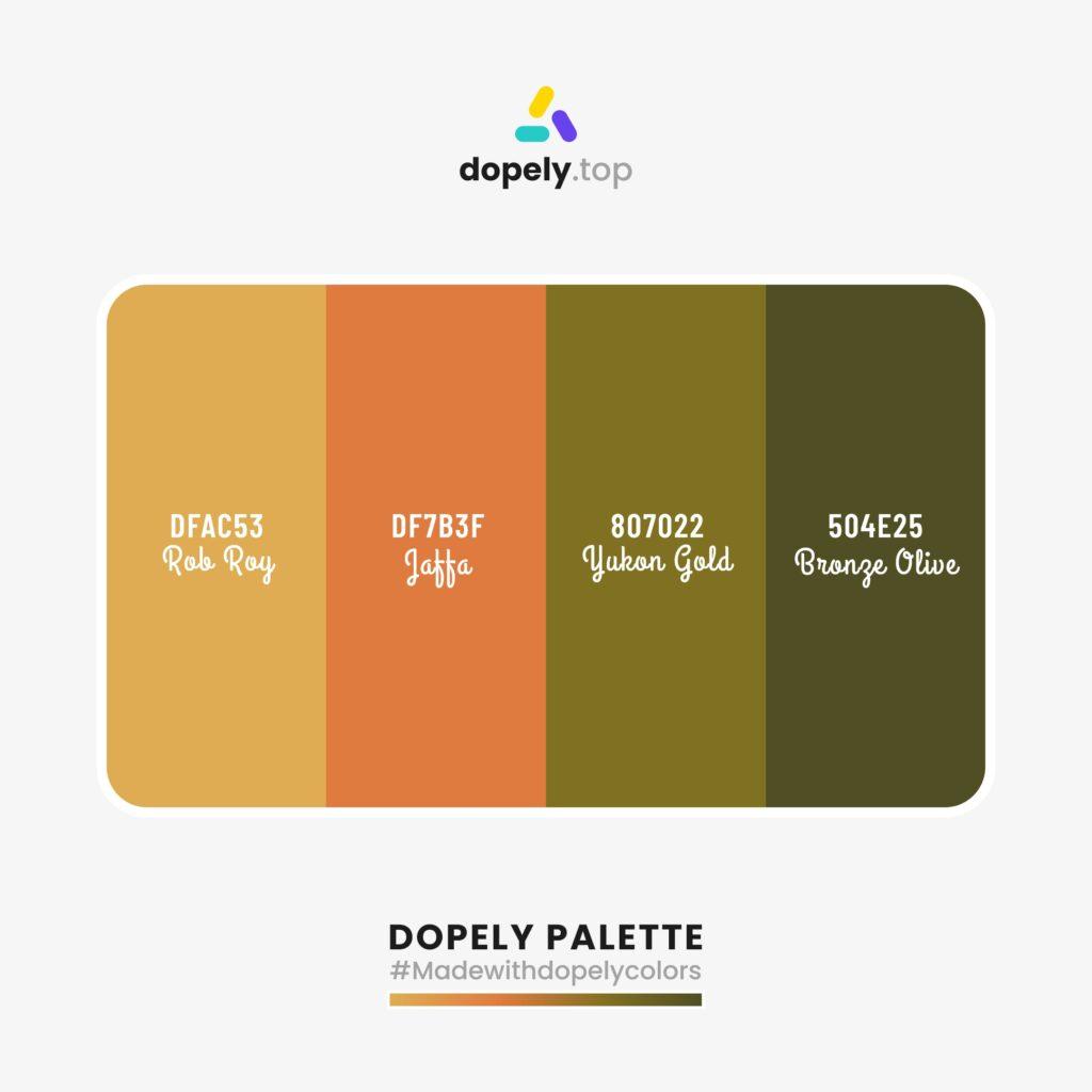 color palette idea with Rob Roy (DFAC53) + Jaffa (DF7B3F) + Yukon Gold (807022) + Bronze Olive (504E25)