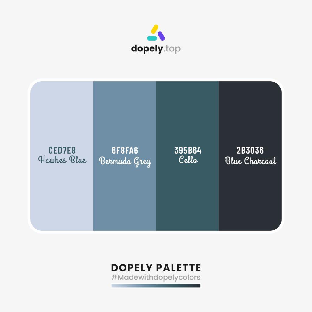 blue color palette inspiration with Hawkes Blue (CED7E8) + Bermuda Grey (6F8FA6) + Cello (395B64) + Blue Charcoal (2B3036)
