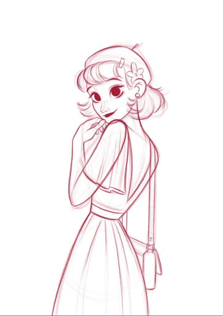 a girl drawing by digital art