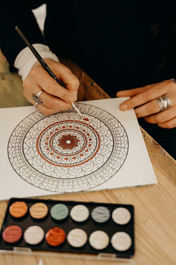 a woman drew a mandala