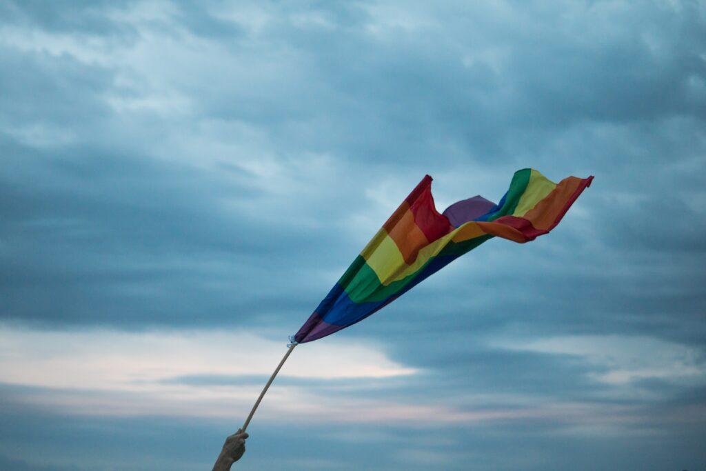 rainbow flag in the sky